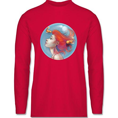 Shirtracer Statement Shirts - Unterwasser - Meerjungfrau - Herren Langarmshirt Rot