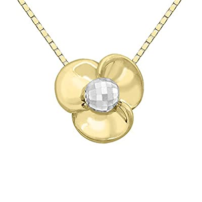 Carissima Gold 9ct 2 Colour Gold, Yellow and White, Flow and Box Chain of 46cm/18""