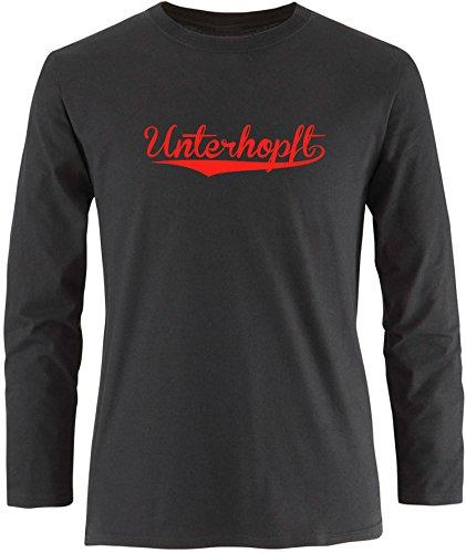 EZYshirt® Unterhopft Herren Longsleeve Schwarz/Rot