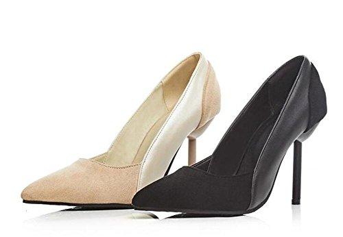 PBXP Pumps Wildleder Simple Scarpin Stilett High Heel Spitz-Toe Frauen-Besatzung Casual Party Büros Elegante Schuhe Europa Größe innerhalb Biger Größe 32-43 Black