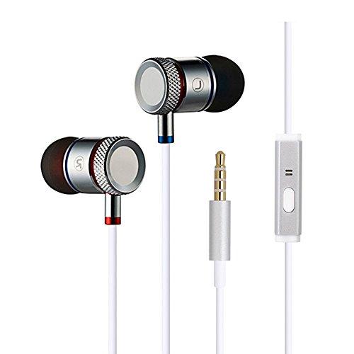 SmartLivin Premium In-Ears Stereo Kopfhörer/In Ear Ohrhörer mit Noise Cancelling inklusive Mikrofon und vergoldete Audiobuchse kompatibel mit iPhone/iPad/iPod und Samsung bzw Android-Geräte (Weiß) (Weiß)