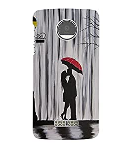 Takkloo Beautiful painting ( girl and boy's painting, lovers, lovers under umbrella, red umbrella, Grey Background) Printed Designer Back Case Cover for Moto Z Play :: Motorola Moto Z Play