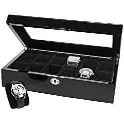 251 8110 Watch Box for 12 Watches, Black, Lockable