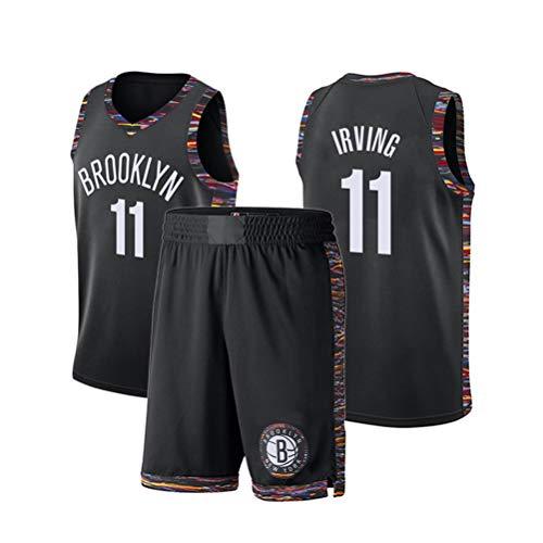 Brooklyn Nets Kyrie Irving # 11 Jersey-Shorts für Kinder Jugend Männer Unisex, Netze Nr. 11 Jersey, klassisches ärmelloses Set, Frauen-Netzanzug-Basketballtrikot (3XL,Schwarz)