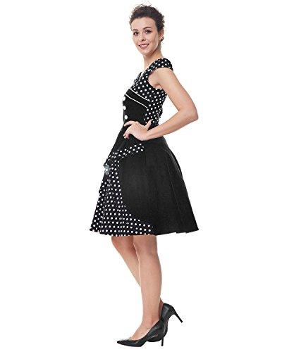 ZAFUL Damen Elegant Cocktailkleid Polka Dots Ärmellos Partykleid Vintage Rockability Festliche Swing Kleider Schwarz