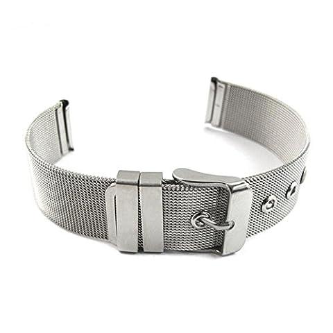Transer® Milanese Edelstahl Uhrenarmbänder Uhrarmband Vertraglich Design Adapter für Uhren 14,16,18,20,22,24 MM Silber (22mm)