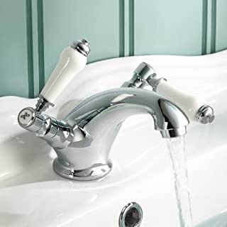 iBathUK   Traditional Chrome Basin Mixer Tap Monobloc Bathroom Sink Lever Faucet TB132
