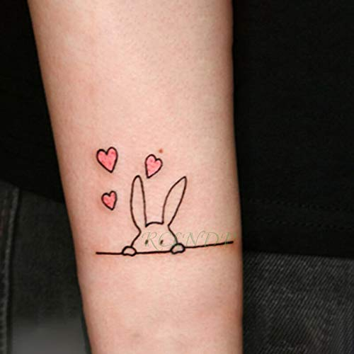 5pcs impermeabile tatuaggio tatoo sticker cuore bello coniglio animale tatto flash tatuaggi tatoo per bambini uomini donne