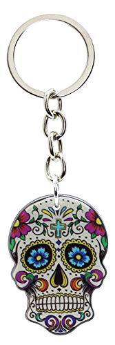 Bluebubble DIA DE LOS MUERTOS Schlüsselanhänger mit Totenkopf, in Geschenkbox, Candy White Head - Cross
