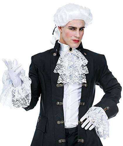 Karneval-Klamotten Jabot aus Spitze weiß mit 2 Manschetten Edelstein für Rokoko GRAF Dracula