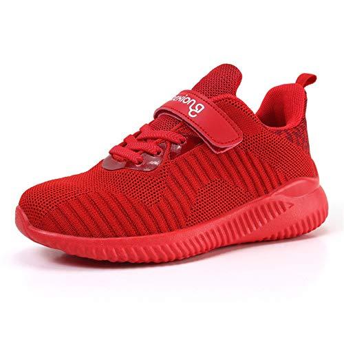 GHJGTL Sneakers Boy Rutschfeste Atmungsaktive Ultraleichte Laufschuhe Mädchen Outdoor Wandern Reise Turnschuhe (Farbe : Rot, größe : 33)