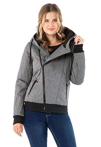 Sublevel Damen Winter Jacke mit Kapuze Übergangsjacke - warm gefüttert S-3XL Grey XL