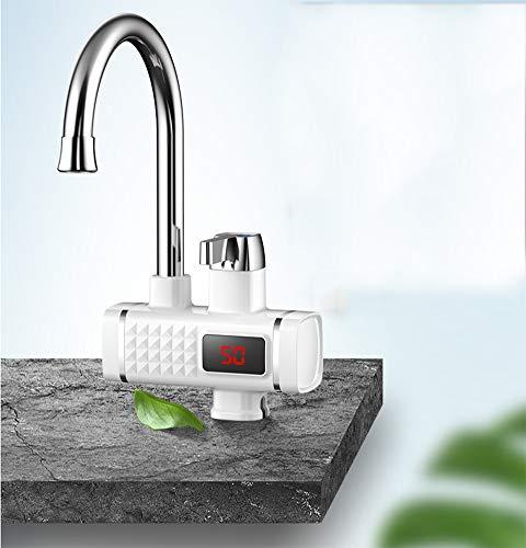 YXMxxm Elektrischer beheizter Instant-Warmwasserhahn, Küchen-Elektroheizungshahn, 360 ° -Drehung, Instant-Warmwasserhahn mit LCD-Display,White