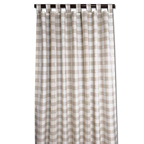 SeGaTeX home fashion Landhaus-Vorhang Karo mit Edelweiß beige-weiß Deko-Schlaufenschal mit 8 Schlaufen Übergardine