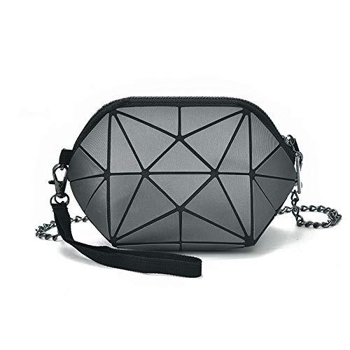 LFG Damen Schulter geometrische Tasche geometrische rhombische Tasche Kette diagonale kleine Tasche, Matte Dark Greybags Frauen - Beste Rucksack Sprayer
