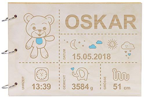 LAUBLUST Foto-Album aus Holz mit Gravur - Teddy-Bär Motiv - ca. 31 x 22 cm, Natur | Babyalbum als Geschenk zur Geburt - 30 DIN A4-Seiten, Karton, Schwarz