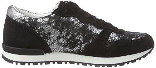 Marc Shoes Laura, Baskets Basses femme Noir - Schwarz (black-silver 846)