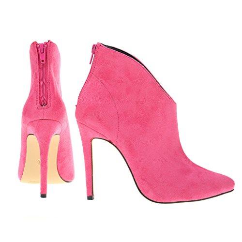 EKS Damen Spitze Stilett Reißverschluss Kurze Stiefel Pink-Wildleder