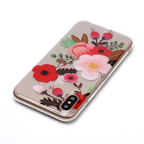 iPhone X Hülle, Voguecase Silikon Schutzhülle / Case / Cover / Hülle / TPU Gel Skin für Apple iPhone X(Lace Teppich 10) + Gratis Universal Eingabestift Kamelie 02