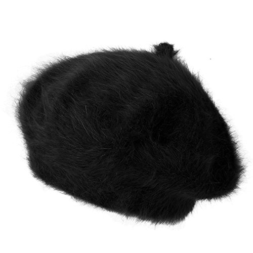 ililily Solid Color Angora French Beret Furry Artist Flat Winter Hat, Black with Tab