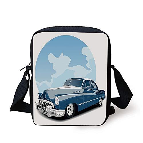 CBBBB Cars,Old Timer Vintage Automobile Collectors Revival Nostalgia American Culture,Blue Pale Blue Black Print Kids Crossbody Messenger Bag Purse (Automobil-laptop-stand)