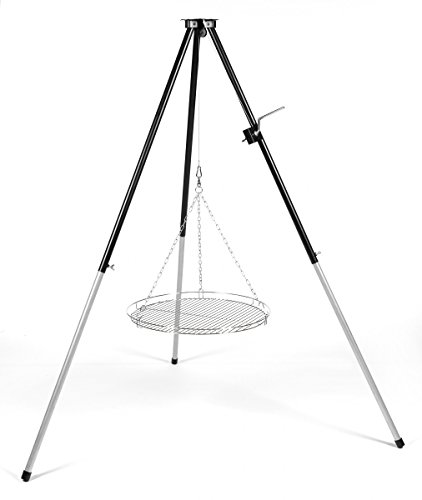 Schwenker Dreibein -Grillgestell mit Kurbel für Schwenkgrill mit Rost 50 cm verchromt & Wurstzange