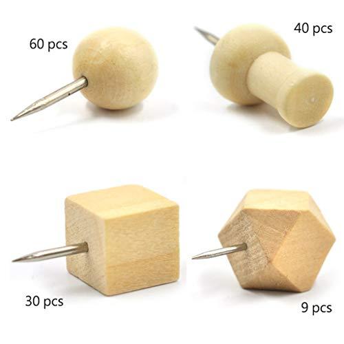 139 Stück Holz-Pinnnadeln, kombinieren Sie achteckige I-Form, runde quadratische Holz-Daumen-Reißnägel, dekorativ für Korktafeln, Karten, Fotos, Poster, Kalender, Bastelprojekte