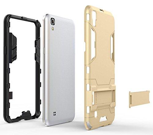 YHUISEN Tough-Art Hybrid Dual Layer Rüstung Defender PC Hard Cases Neue 2 in 1 Eisen-Rüstung mit Ständer Stoß- Fall für Huawei Honor 8 OnePlus 3 LG X Power ( Color : Gold , Size : Huawei Honor 8 ) Grau