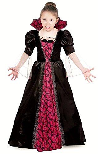Vampir Kostüm Kinder Vampirkleid für Kinder Halloween - Vampir Kostüm Mädchen Halloween rot-schwarz (134/140)