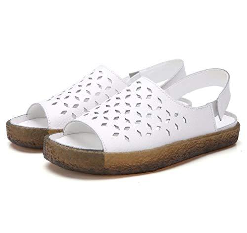 Damen Flower Carving Plateau Sandalen Open Toe Verstellbarer Knöchelriemen mit Klettverschluss Slingback Beach Sommer Schuhe - Frauen Kleid Schuhe Qupid Für