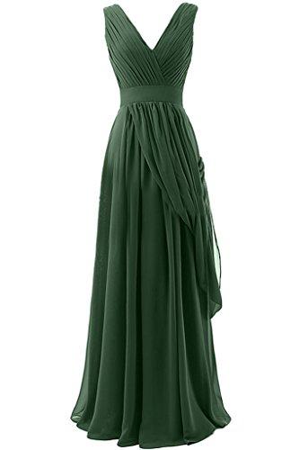 Sunvary A-line in Chiffon, lunga, scollo A V, quando viene piegato Evening Dresses Homecoming Gowns Verde scuro