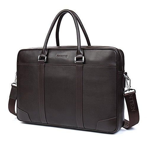 BOSTANTEN Herren Leder Laptoptasche Umhängetasche Schultertasche Businesstasche Kaffee