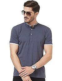 4c448cbcd Wear Your Opinion WYO Men's Cotton Half Sleeve Mandarin Chinese Collar Polo  T-Shirt