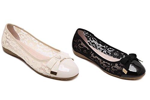 AgooLar Damen Schließen Zehe Ziehen Auf kunstleder Flache Schuhe Schwarz+Spitze