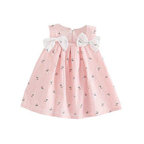 Sommer Mädchen Kleidung Größe 6 (Brightup Baby Bow Knoten Blumenkleid 0-24 Monate kleines Mädchen Sommerkleid Weste A-Linie knielangen Kleid)