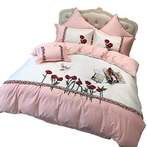 ZHFC Bettwäsche-Set 4 Stück Tröster Set Twin Size, Hause, Ultra Soft und Easy Care Bettbezug Sets, Floral Jacquard Bettwäsche,pink_King 220 * 240cm