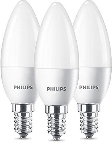 Philips LED Lampe ersetzt 40W, E14, warmweiß (2700 Kelvin), 470 Lumen, Kerze, Dreierpack