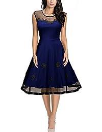 Miusol Damen Elegant Abendkleid Mesh Brautkleid Retro Cocktailkleid Rockabilly Party 50er Jahr Kleid