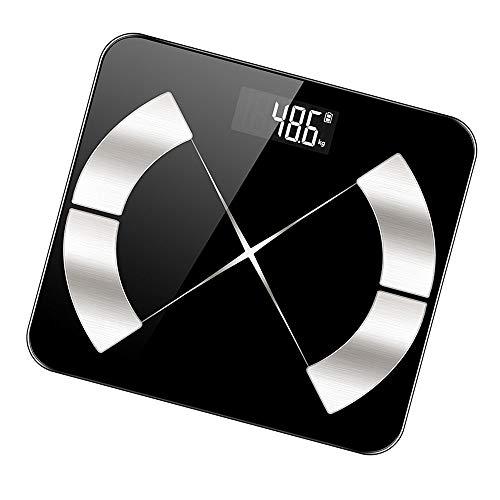 ZGY Intelligente Körperfettwaage, Bluetooth Startseite Elektronische Waage, genaue Körperfettwaage, Body Composition Monitor,Schwarz