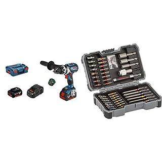 Bosch Akku Schlagbohrschrauber GSB 18 V-85 C (1x 5,0 Ah Akku, 1x 3,0 Ah SL Akku, 18 V, max. Drehmoment: 85 Nm, in L-BOXX) + Bosch Professional 43tlg. Schrauber Bit Set (Zubehör für Elektrowerkzeuge)