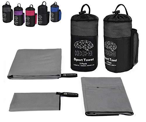 MENTALIZE® Fitness Microfaser Handtücher | 3er Mikrofaser Handtuchset | Badehandtuch | XXL Strandtuch | Reißverschluss-Tasche (Zementgrau - Black, 3er Set 140x70;100x50 ;40x40cm)