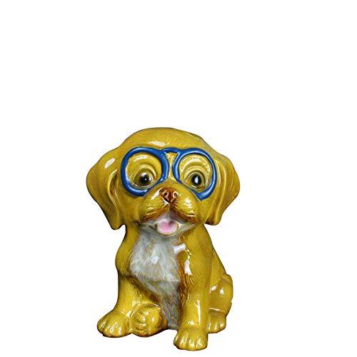 Yowinlo Statuen Dekoartikel Skulpturen Figuren Kreative Tierkreiszeichen Keramik Glück Haustier Hund Piggy Bank Dekoration Dekoration Handwerk Dekoration Gelber Hund -