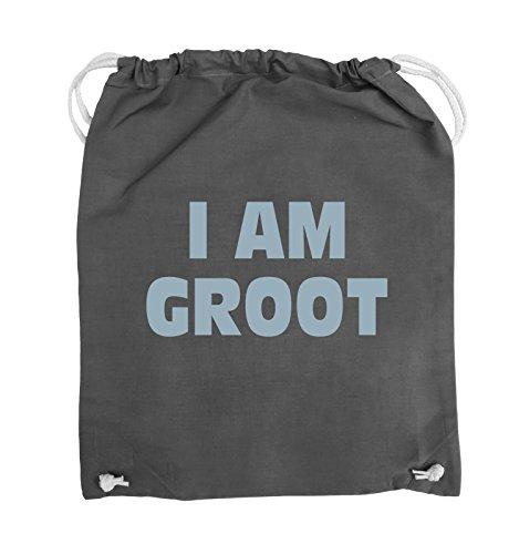 Comedy Bags - I AM GROOT - LOGO - Turnbeutel - 37x46cm - Farbe: Schwarz / Silber Dunkelgrau / Eisblau