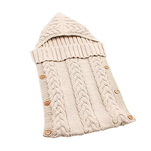 Tookang sacco nanna per neonati maglia a maglia invernale con cappuccio carrozzina coperta morbida avvolto coperta 75 * 35cm beige
