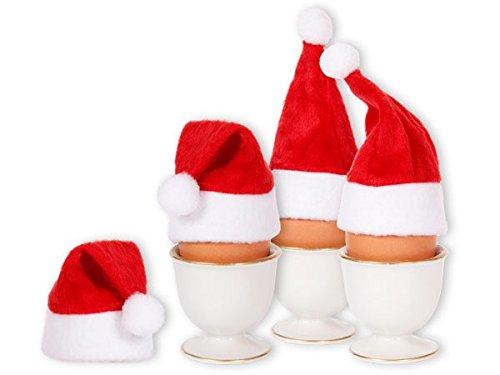 Alsino Set di 4 Cappelli Sacaldauova | Babbo Natale (wm-133) | Mini Cappellino | 10 x 5 cm | Feltro | Rosso | PON PON e Bordo Bianco | DIY | Fai da Te | Natalzio | Decorazione