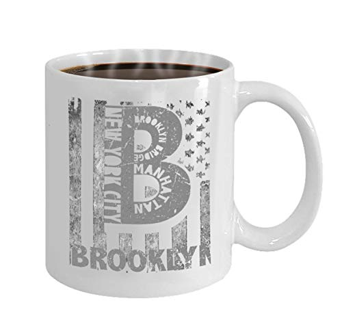 Funny Gifts for Halloween Party Gift Coffee Mug Tea new york city brooklyn stylized american flag grung
