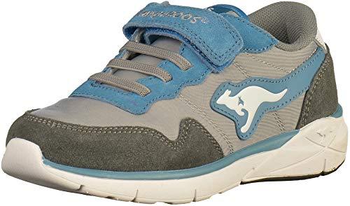 Kangaroos Leder-sneaker (KangaROOS 19031 Jungen Sneakers Grau/Blau, EU 35)