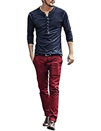 BUSIM-Men Long Sleeve Shirt Casual Old V-Neck Wash Sleeve Henry Shirt Autumn Classic Retro Slim T-Shirt Top Party...