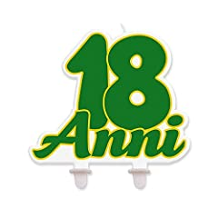 Idea Regalo - Big Party Candela Sagomata 18 Anni per Torte, Colore Verde, 13 x 13 cm 73137