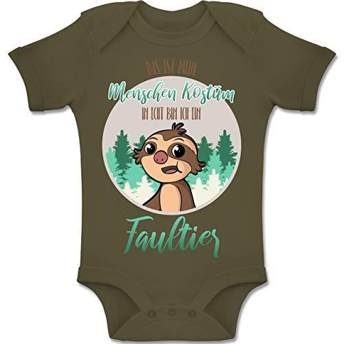 und Fasching Baby - Das ist Mein Menschen Kostüm in echt Bin ich EIN Faultier - 12-18 Monate - Olivgrün - BZ10 - Baby Body Kurzarm Jungen Mädchen ()
